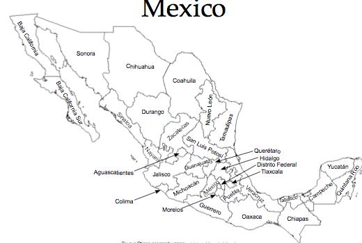 Mexico Printable Map: Printable Mexico Map At Infoasik.co