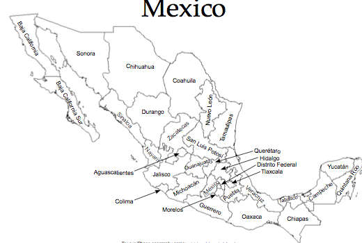 Playful image with regard to printable map of mexico